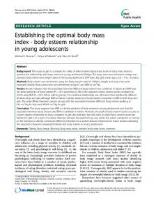 Establishing the optimal body mass index - body esteem relationship in young adolescents