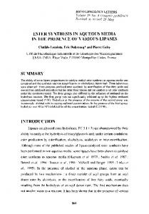 Ester synthesis in aqueous media in the presence of various lipases