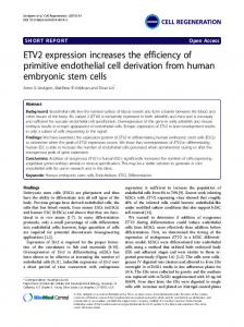 ETV2 expression increases the efficiency of primitive endothelial cell derivation from human embryonic stem cells