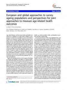 European and global approaches to survey ageing populations and perspectives for joint approaches to measure age-related health outcomes