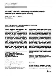 Evaluating functional connectivity with matrix behavior uncertainty for an endangered butterfly