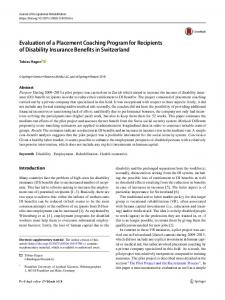 Evaluation of a Placement Coaching Program for Recipients of Disability Insurance Benefits in Switzerland
