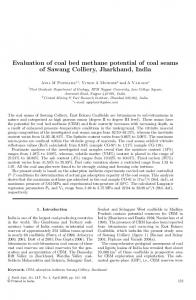 Evaluation of coal bed methane potential of coal seams of Sawang Colliery, Jharkhand, India