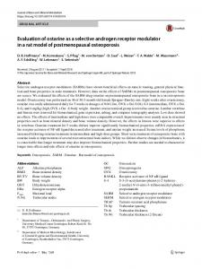 Evaluation of ostarine as a selective androgen receptor modulator in a rat model of postmenopausal osteoporosis