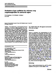 Evaluation of pan coefficient for reference crop evapotranspiration for semi-arid region