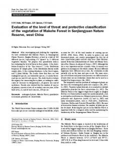Evaluation of the level of threat and protective classification of the vegetation of Makehe Forest in Sanjiangyuan Nature Reserve, west China