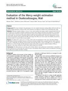 Evaluation of the Mercy weight estimation method in Ouelessebougou, Mali