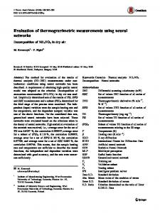 Evaluation of thermogravimetric measurements using neural networks