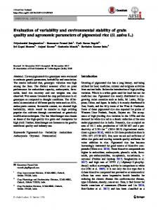 Evaluation of variability and environmental stability of grain quality and agronomic parameters of pigmented rice (O. sativa L.)