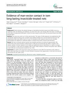 Evidence of man-vector contact in torn long-lasting insecticide-treated nets