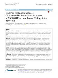 Evidence that phospholipase C is involved in the antitumour action of NSC768313, a new thieno[2,3-b]pyridine derivative
