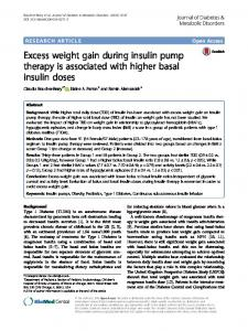 Excess weight gain during insulin pump therapy is associated with higher basal insulin doses