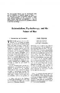 Existentialism, psychotherapy, and the nature of man