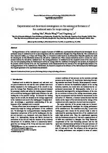 Experimental and theoretical investigation on the sealing performance of the combined seals for reciprocating rod