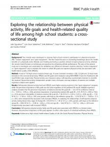 Exploring the relationship between physical activity, life goals and health-related quality of life among high school students: a cross-sectional study