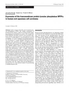 Expression of the transmembrane protein tyrosine phosphatase RPTPα in human oral squamous cell carcinoma