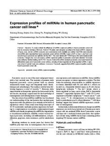 Expression profiles of miRNAs in human pancreatic cancer cell lines