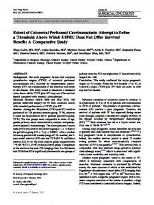 Extent of Colorectal Peritoneal Carcinomatosis: Attempt to Define a Threshold Above Which HIPEC Does Not Offer Survival Benefit: A Comparative Study