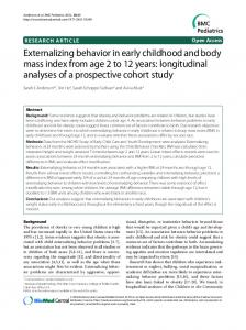 Externalizing behavior in early childhood and body mass index from age 2 to 12 years: longitudinal analyses of a prospective cohort study