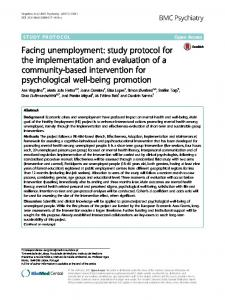 Facing unemployment: study protocol for the implementation and evaluation of a community-based intervention for psychological well-being promotion