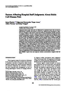 Factors Affecting Hospital Staff Judgments About Sickle Cell Disease Pain