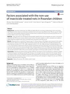 Factors associated with the non-use of insecticide-treated nets in Rwandan children