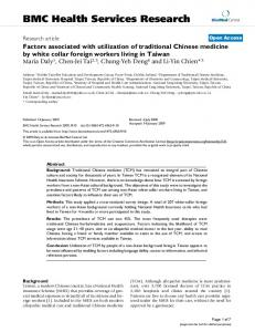 Factors associated with utilization of traditional Chinese medicine by white collar foreign workers living in Taiwan