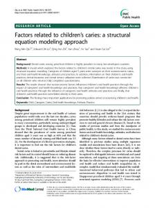 Factors related to children's caries: a structural equation modeling approach