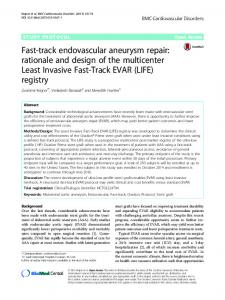 Fast-track endovascular aneurysm repair: rationale and design of the multicenter Least Invasive Fast-Track EVAR (LIFE) registry