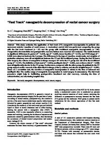 """Fast Track"" nasogastric decompression of rectal cancer surgery"