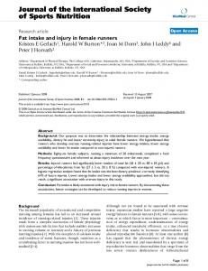 Fat intake and injury in female runners