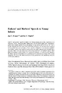 Fathers' and mothers' speech to young infants