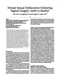 Female sexual dysfunction following vaginal surgery: Myth or reality?