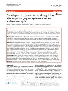 Fenoldopam to prevent acute kidney injury after major surgery—a systematic review and meta-analysis