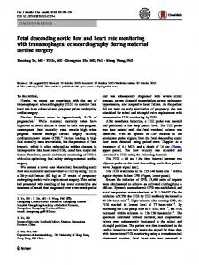 Fetal descending aortic flow and heart rate monitoring with transesophageal echocardiography during maternal cardiac surgery