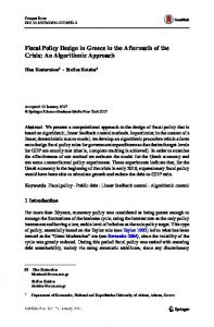Fiscal Policy Design in Greece in the Aftermath of the Crisis: An Algorithmic Approach