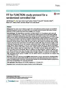 FIT for FUNCTION: study protocol for a randomized controlled trial
