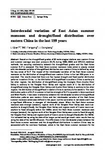 flood distribution over eastern China in the last 159 years