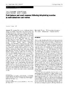 Fluid balance and renal response following dehydrating exercise in well-trained men and women