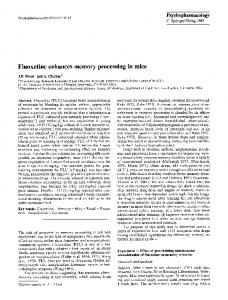 Fluoxetine enhances memory processing in mice