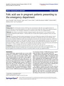Folic acid use in pregnant patients presenting to the emergency department