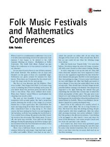 Folk Music Festivals and Mathematics Conferences