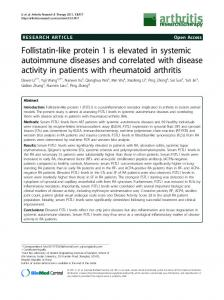 Follistatin-like protein 1 is elevated in systemic autoimmune diseases and correlated with disease activity in patients with rheumatoid arthritis
