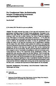 For Grandparents' Sake: the Relationship between Grandparenting Involvement and Psychological Well-Being