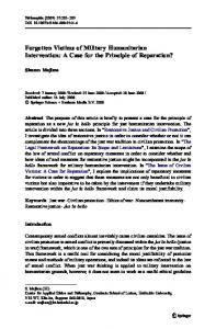 Forgotten Victims of Military Humanitarian Intervention: A Case for the Principle of Reparation?