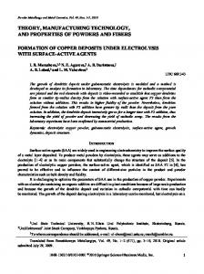 Formation of copper deposits under electrolysis with surface-active agents