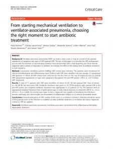 From starting mechanical ventilation to ventilator-associated pneumonia, choosing the right moment to start antibiotic treatment