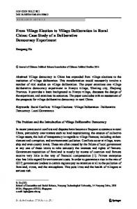 From Village Election to Village Deliberation in Rural China: Case Study of a Deliberative Democracy Experiment