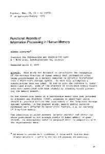 Functional aspects of information processing in human memory