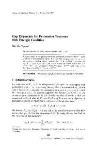 Gap exponents for percolation processes with triangle condition